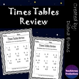 Multiplication Times Tables Review Worksheets