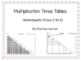 Multiplication Times Tables Worksheets from 2 to 10