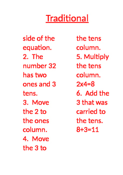 Multiplication - Traditional Method Math Poster