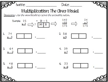 Multiplication: Traditional Method and Area Model
