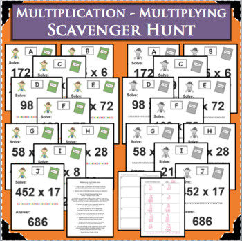 Multiplication Scavenger Hunt Travel Game Math Activity w/