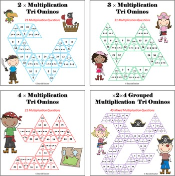 Multiplication Tri Ominos Game - 4 Math Centers