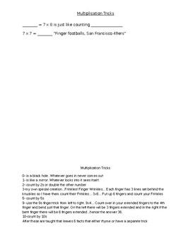 Multiplication Tricks cloze notes