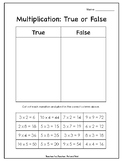 Multiplication True or False