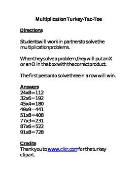 Multiplication Turkey-Tac-Toe