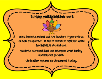 November Multiplication Turkeys 3.OA.A.1