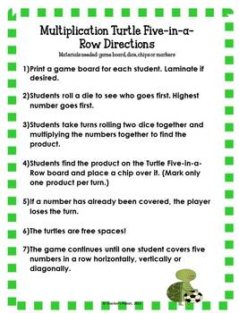 Free Multiplication Games - Turtle Five-in-a-Row!