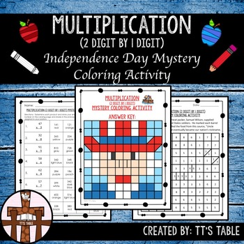 Multiplication (2 Digit by 1 Digit) Independence Day Mystery Coloring Activity