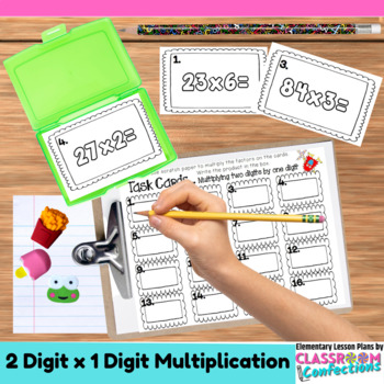 4th Grade Math: Two Digit by One Digit Multiplication Task Cards