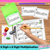 4th Grade Math Center: Two Digit Multiplication Task Cards