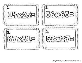 4th Grade Math Center: Two Digit Multiplication Task Cards