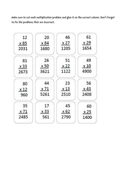 Multiplication (Two-Digits x Two-Digits) : Cut, Sort, and Paste