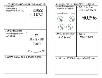 Multiplication Unit Daily Warm-Ups
