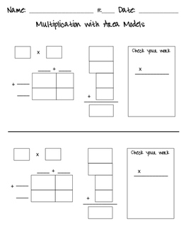 Multiplication Using Area Models (Guide Boxes)