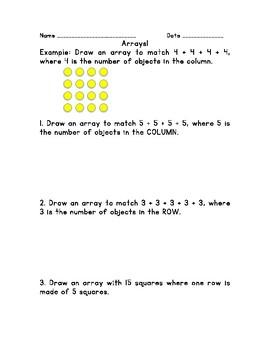 Multiplication: Using Arrays Worksheet