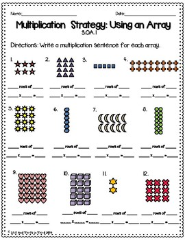 Multiplication: Using Arrays Worksheets by Skills and Thrills In Third