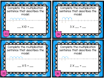 Multiplication Files - Multiplication Using Number Lines Task Cards