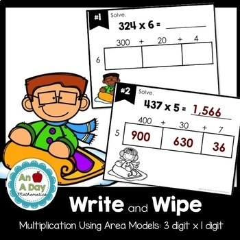 Multiplication Using the Area Model Task Cards (3 digit x 1 digit)