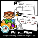 Multiplication Using the Area Model Task Cards (3 digit x