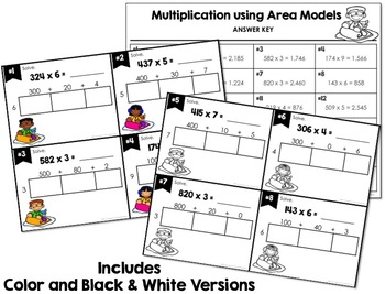 Multiplication Using the Area Model Task Cards  BUNDLE