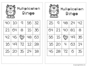 Multiplication Valentine's Bingo
