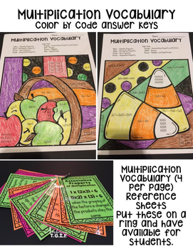 3rd Grade Go Math Chapter 3 and Chapter 4 Multiplication Vocabulary