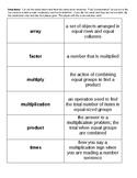Multiplication Vocabulary Concentration
