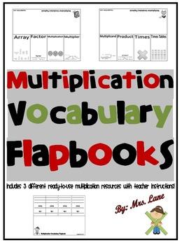 Multiplication Vocabulary Flapbooks