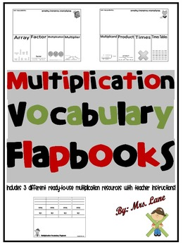 Multiplication Vocabulary Flapbooks