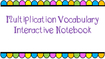 Multiplication Vocabulary Foldable
