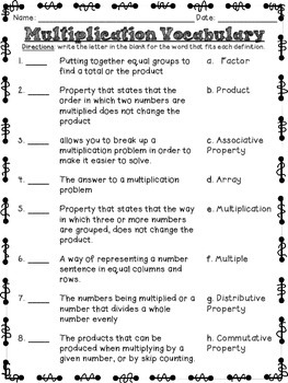 Multiplication Vocabulary Freebie!!!