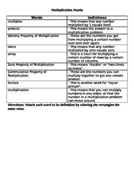 Multiplication Vocabulary Matching