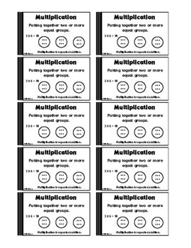 Multiplication Vocabulary Trading Cards Math Activities & Lesson Plans