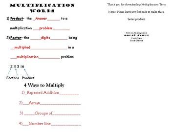Multiplication Vocabulary Words
