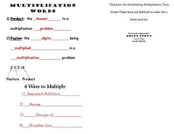 Multiplication Vocabulary Words