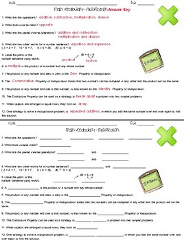 Multiplication Vocabulary Practice Packet by The Teacher Team | TpT