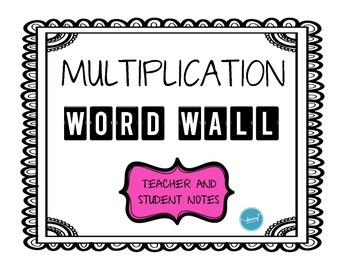 Multiplication WORD WALL (cards, interactive journal notes, etc)