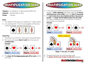 Multiplication War - 3rd Grade Math Game [CCSS 3.OA.C.7]