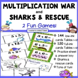 Multiplication Games - War, Shark Shake Up and fun, foldable Flashcards
