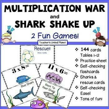 Multiplication Games - War, Shark Shake Up and fun, foldable Flashcards