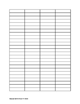Multiplication War Card Game Recording Sheet for Students