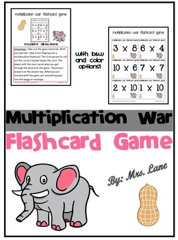 Multiplication War Flashcard Game