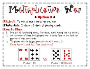 Multiplication War Game/Math Center (2 Options)