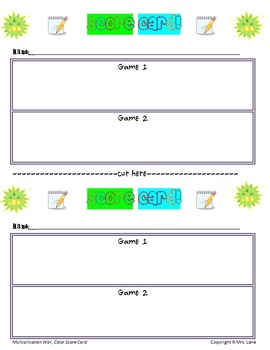 Multiplication War Game