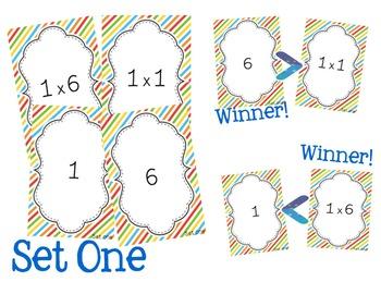 """Multiplication Facts """"War"""" Math Card Game Center"""