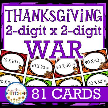 Multiplication War: Thanksgiving (2-digit x 2-digit)