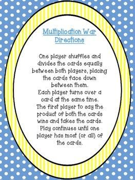 Multiplication War:Fun Center or Individual Practice