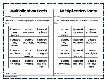 Multiplication Weekly Tests and Enrichment Activities