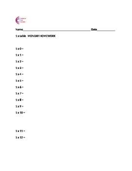 Multiplication Weekly Times Tables (1-10).  10 Weeks - One Times Table Each Week