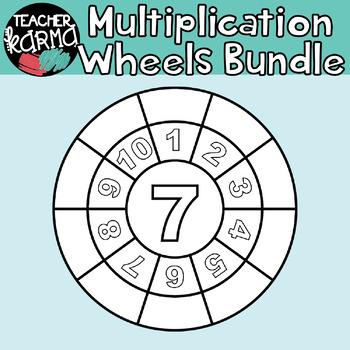 Multiplication Wheels BUNDLE: 104 Pieces MATH CLIPART